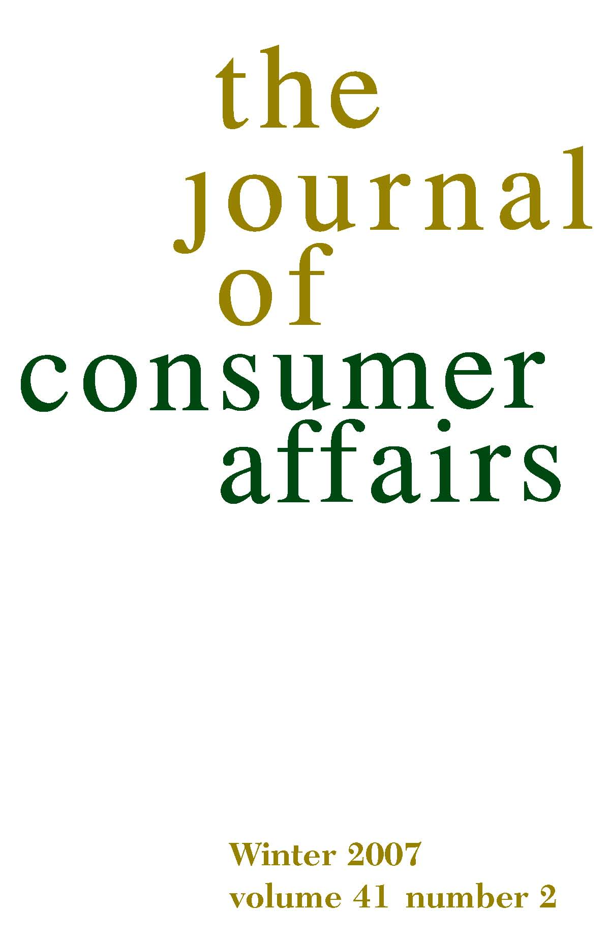The Journal of Consumer Affairs