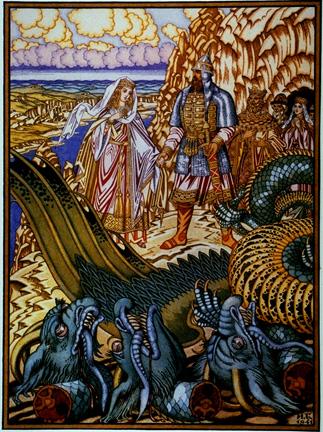 Dobrynia slays the dragon (Bilibin)